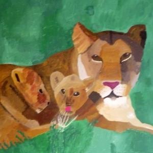Anita Azier leeuw met welpen